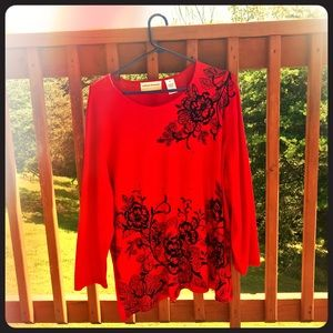 Plus Size Alfred Dunner Red Sweater 2X